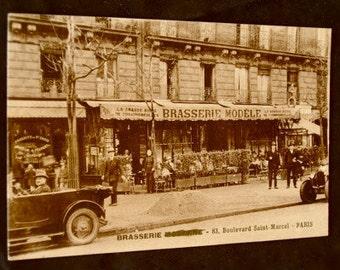 Antique French Postcard Paris: Brasserie Modele