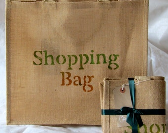 Medium / Large Personalised Orange and Green Jute 'Shopping Bag'