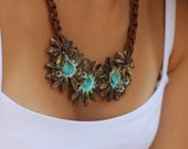 Statement necklace Ceramic jewelry Statement brown and turquoise flowers necklace
