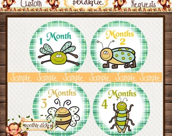 Bugs Monthly Baby Milestone Stickers Baby Boy One-Piece Baby Stickers Monthly Baby Stickers Baby Month Stickers {M58}
