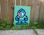 SALE 20% off - Megaman NES pixel painting 12x16 canvas panel