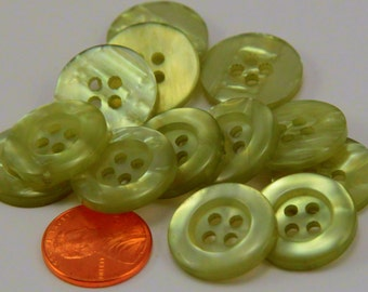 "12 Pearlized Pale Green Sew-through Plastic Buttons 3/4"" 19MM # 6384"