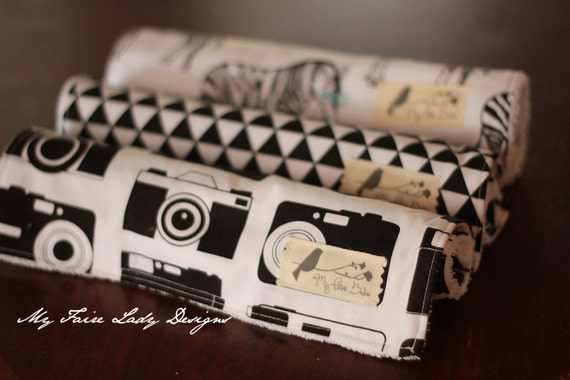 Modern Baby Burp Cloths, Set of Three, in Black and White Hipster Zebra, Vintage Camera, and Modern Triangle Fabric