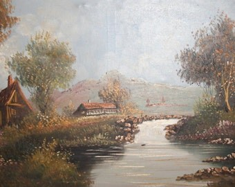 Antique oil painting autumn river landscape