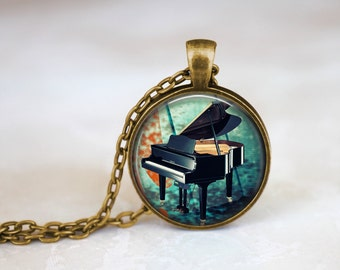 Pianist Gift Handcrafted Piano Jewelry, Music note necklace steampunk piano necklace Pianist present, Steampunk music pendant pianist gift