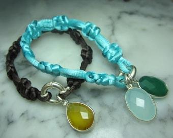 TOM K  Shamballa Charms Bracelet Silk Precious stones gold Onyx Chalcedony Turquoise