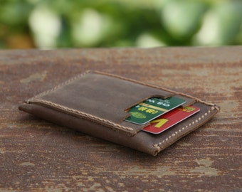 Minimailist Leather Card Holder Men's Wallet Simple All In One Travel Wallet Distressed Groomsmen Bridesmaid Gift Cash Purse-R016-1