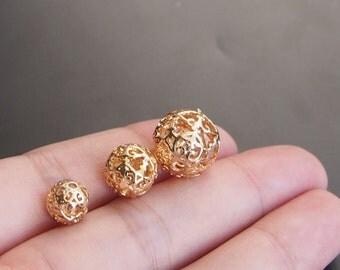 4PCS 24K Gold filled Brass Hollow Beads 8mm 10mm 12mm (#10001010)