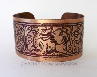 Copper Cuff Etched w/ Angry Dragon Motif, Mythical Creature, Medieval, Woman's Bracelet