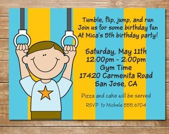 Gym Party Boy Invitation, Gymnastics Birthday Invite, Tumble Party, Tumbling, My Gym, evite, Printable File,