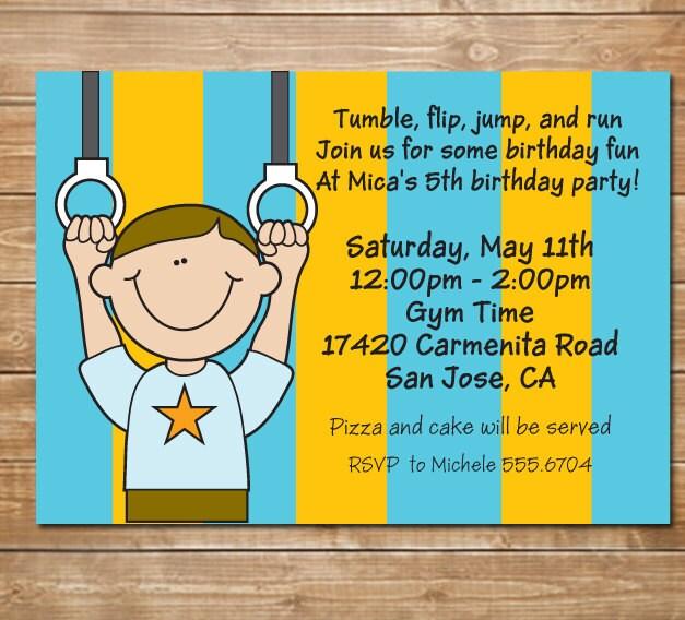 Gym Party Boy Invitation Gymnastics Birthday Invite Tumble