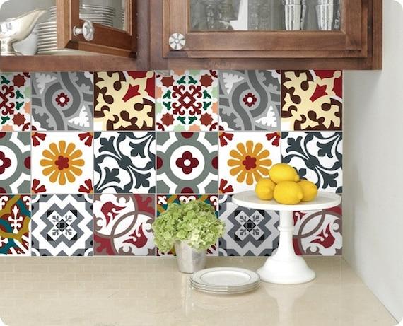 Cuisine salle de bains carrelage stickers vinyle par - Carrelage autocollant cuisine ...