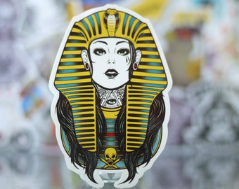 Egyptian Pharaoh Cleopatra Glossy Vinyl Skateboards Sticker