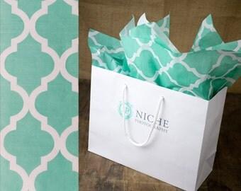 """Aqua Quatrefoil Tissue   96 Sheets   20"""" x 30"""" Size"""