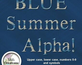 LLL Scrap Creations - Blue Summer Alpha - Digital Scrapbooking Kit