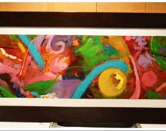 """Large Abstract Painting """"Under a Yellow Sun"""""""