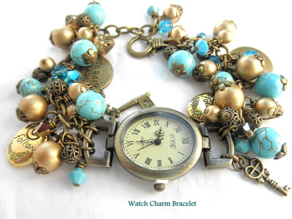 A Turquoise and Gold Timepiece Charm Bracelet. A Gorgeous Charm Watch Bracelet with Gold and Turquoise Colors for Her.