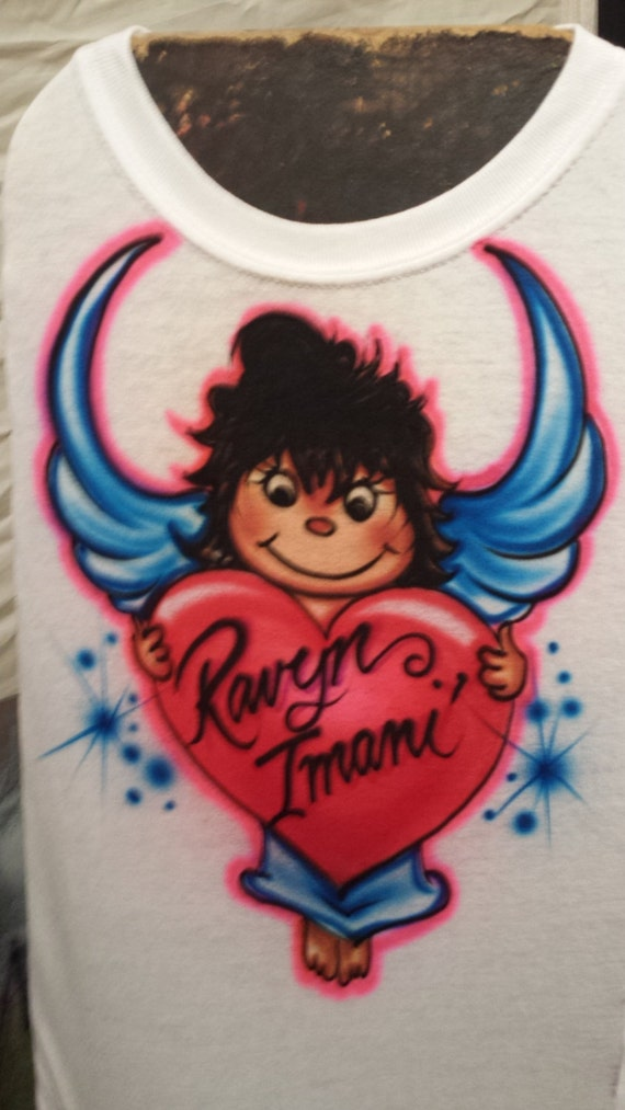 Items similar to custom airbrush angel t shirt freehand for Custom made airbrushed shirts