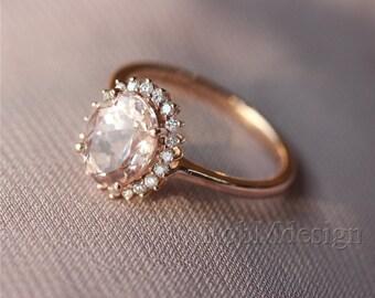 Morganite Ring Pink 6*8mm Fancy Morganite and Full Cut Natural Diamonds 14k Rose Gold Ring Wedding Ring Gemstone Engagement Ring