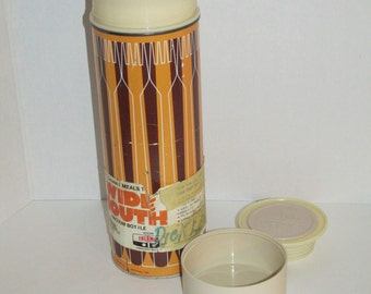 Vintage Retro King Seeley Forks Spoons Wide Mouth Thermos Mug