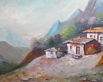 Vintage oil painting landscape impressionism mountain signed