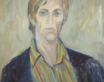 Vintage postimpressionist oil painting male portrait