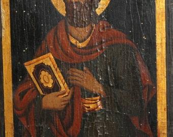 Antique Bulgarian Orthodox Hand Pinted Icon St. Jacob