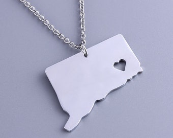 I heart Connecticut Necklace - Connecticut Pendant - State Charm - Map necklace - Map Jewelry