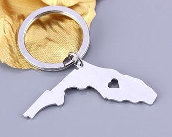 I heart Florida keychain - Florida keyring - State Charm - Map keychain - Map Jewelry