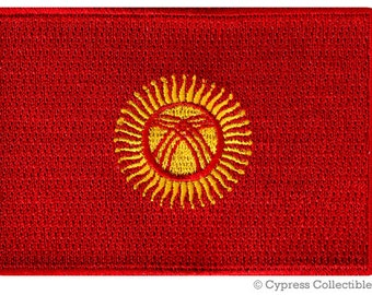 KYRGYZSTAN FLAG PATCH iron-on embroidered applique Top Quality