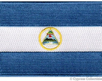 NICARAGUA FLAG PATCH iron-on embroidered applique Top Quality