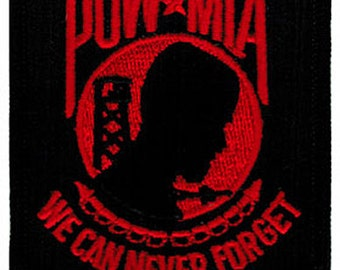 POW-MIA PATCH Black/Red iron-on embroidered applique Military Emblem Prisoner of War