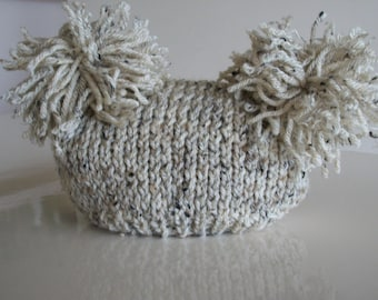 Newborn Baby Sack Hat Knit Oatmeal - Ready to Ship