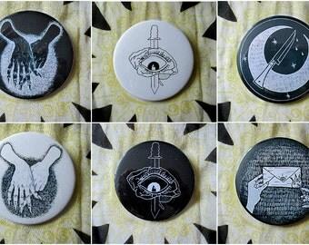 Various badges (eg. political, creepy, illustrations)