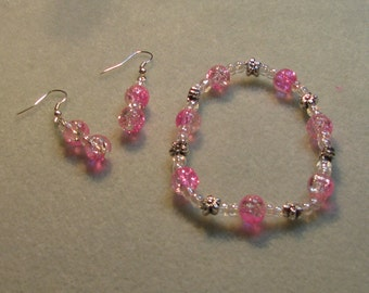 Pink glass bracelet and matching earrings