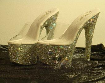 Crystal Madness Bling Exotic Dancer Platform High Heels