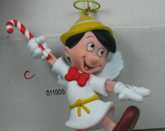 Disney Grolier Pinocchio Angel Ornament Christmas in Box DCA Vintage Wings Halo Candy Cane