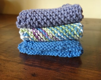 Hand knit dish cloth 100% cotton ready to ship