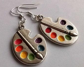 Palette Earrings , Silver Earrings , Artist Earrings , Bright Artist Palette Earrings , Artist Gift , Handmade Jewellery , Handmade Jewelry