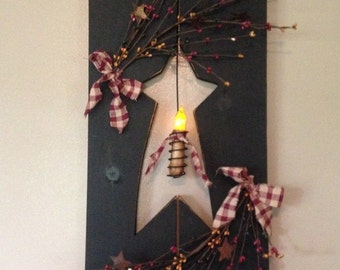 Primitive Shutter with Candle and Berries - Your choice of color!