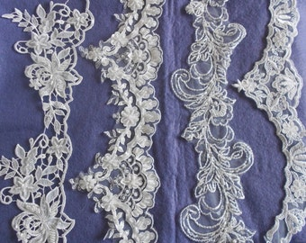 Ivory Beaded Lace Edgings in a choice of 4 Designs. Per Meter