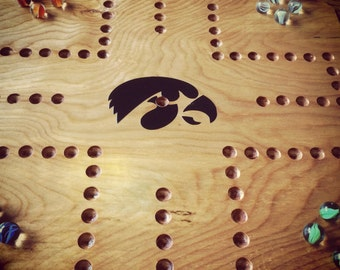 Handmade Oak Aggravation Board Game with Custom Logo