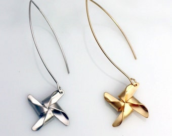 Pinwheel Long Dangle Earrings or Necklace, Gold or Silver Pinwheel Earrings, Summer Origami Earrings, Whimsical Boho Chic, Windmill