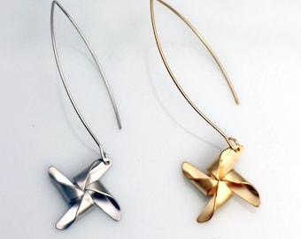 Pinwheel Long Dangle Earrings, Gold or Silver Pinwheel Earrings, Vintage Circus, Summer Origami Earrings, Whimsical Boho Chic, Windmill