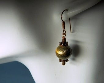 Brushed Rose Copper Beads Dangle Hook Earrings