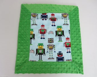 Multi Colored Robot Minky Security Blanket (aka Lovey)