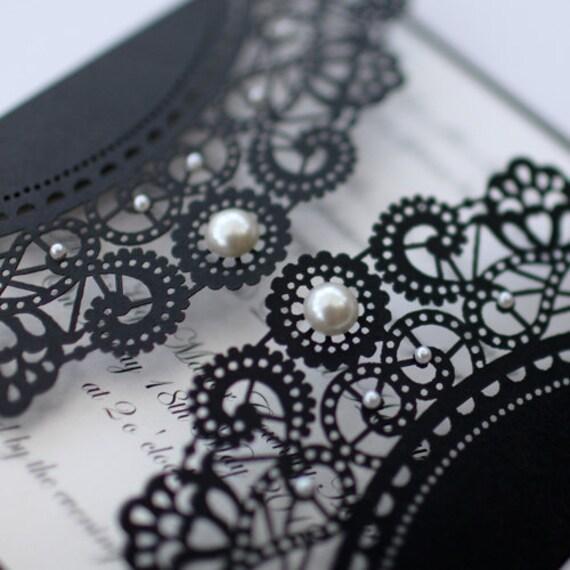 100 x Vintage Style Lasercut Black Lace Doily Invitation