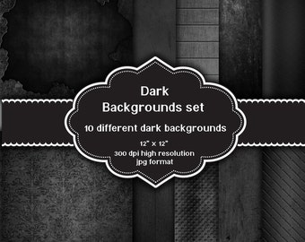 INSTANT DOWNLOAD - Collection of 10 digital dark grunge backgrounds