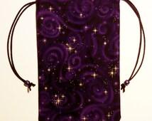 Tarot Bag Tarot Pouch - Purple Celestial Stars - Cards Bag, Drawstring Bag