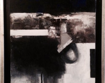 In the cumbre.2007 oil on canvas. Lyric abstraction. Geometry in the lines. Black White
